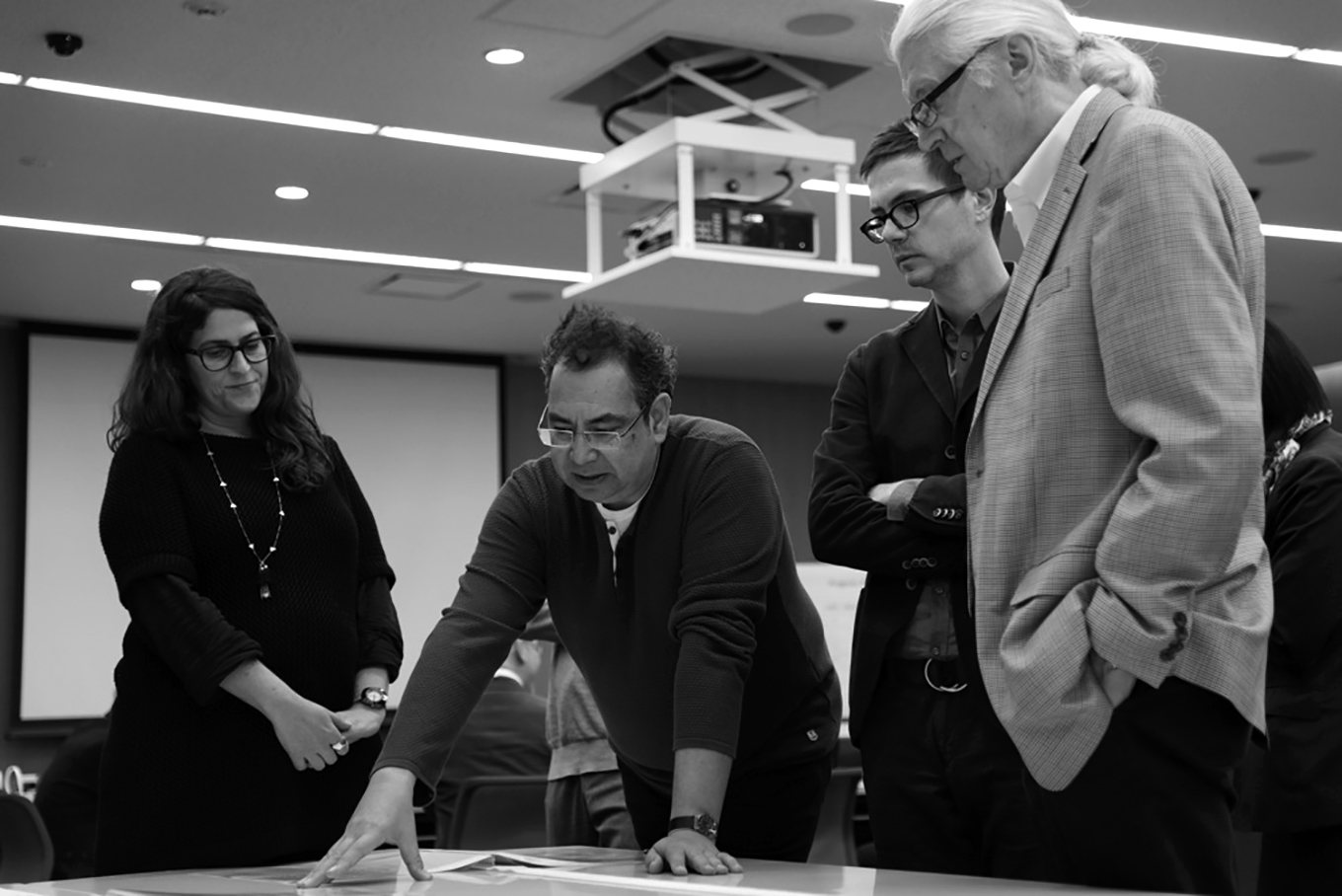 Photograph of Sara Soskolne, Fred Smeijers, Cyrus Highsmith, and Matthew Carter judging the 2014 Morisawa Type Design Competition
