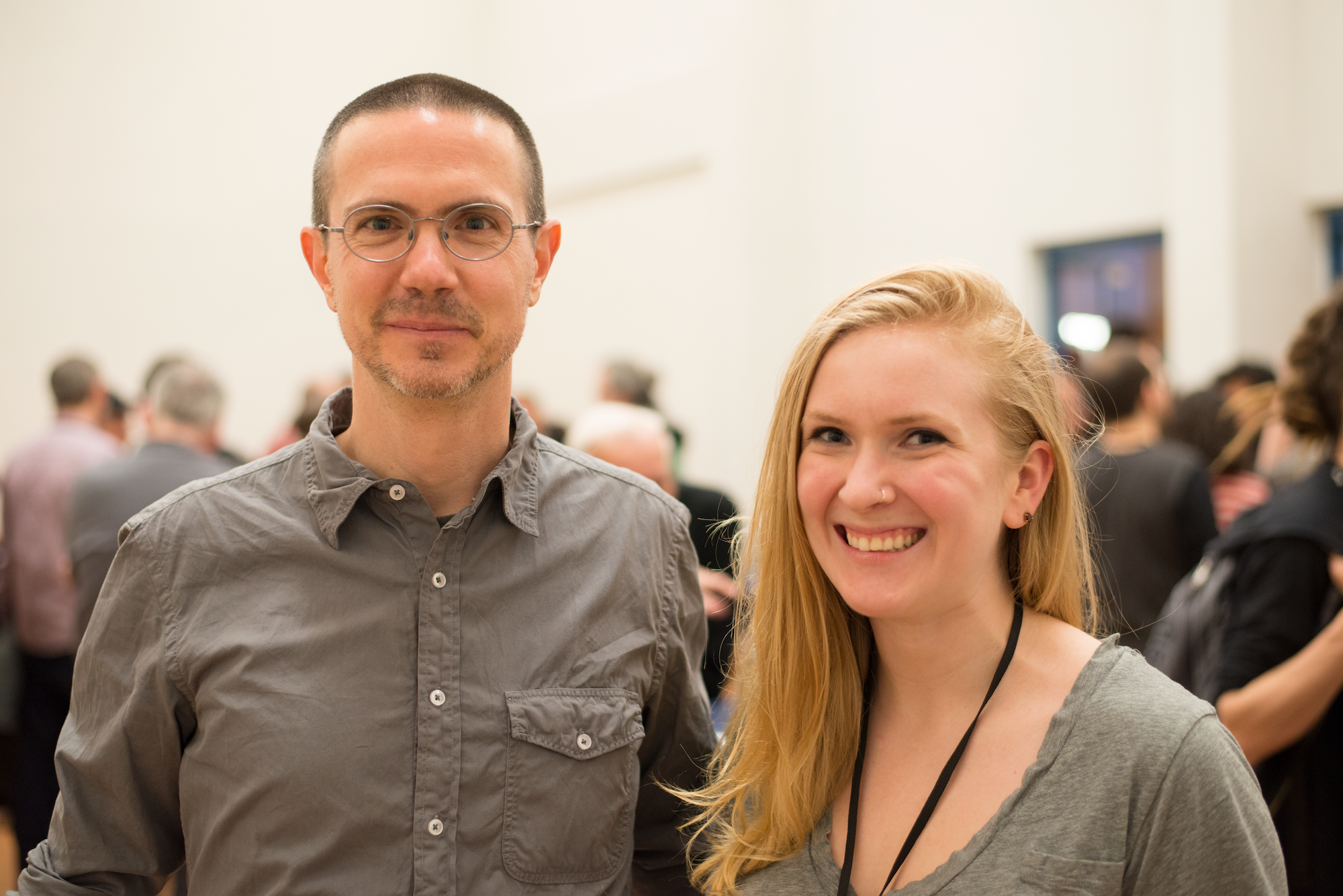 "Cyrus Highsmith and Victoria Rushton at the Gerrit Noordzij Prize Exhibition, ""Products of a Thinking Hand,"" at the Royal Academy of Art in The Hague."